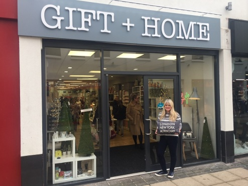 Lousie Duerr outside the GIFT & HOME store in Altrincham